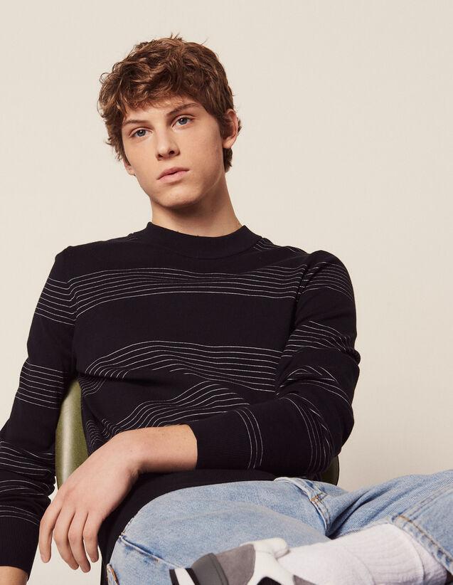 Cotton Sweater With Fine Stripes : Sélection Last Chance color Navy Blue