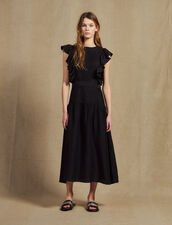 Flowing Sleeveless Long Dress : null color Black