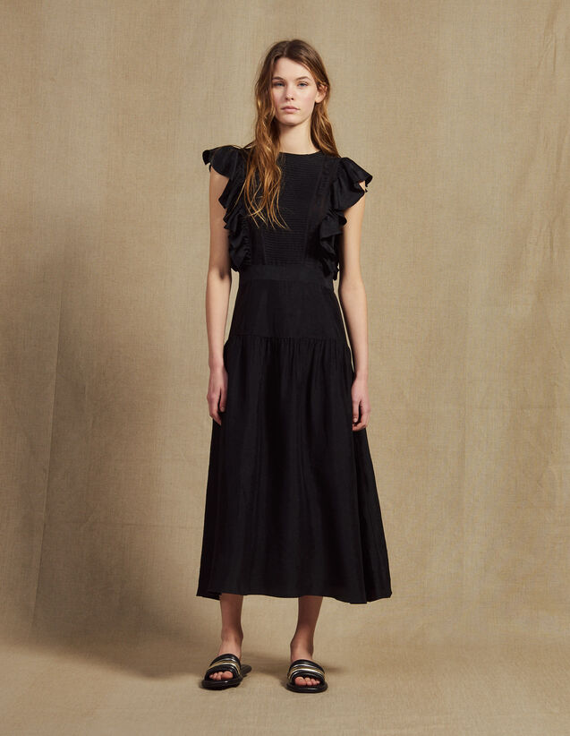 Flowing Sleeveless Long Dress : Dresses color Black