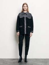 Cardi-coat with denim inset : Sweaters & Cardigans color Black