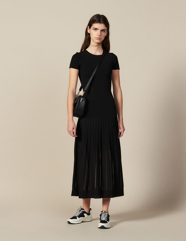Long, Figure-Hugging Knit Dress : New In color Black