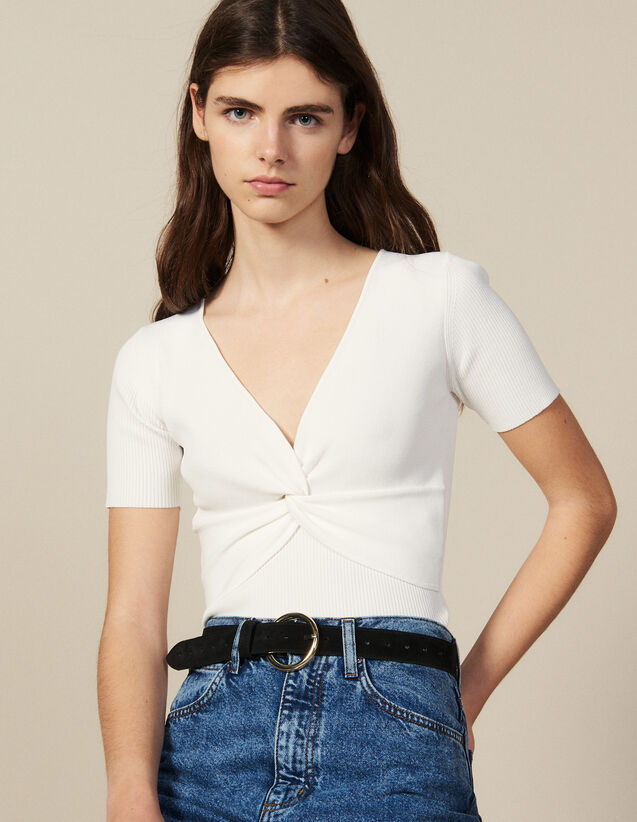 Ribbed Knit Cropped Top : Tops & Shirts color white