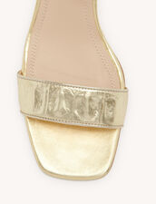 Embossed crocodile leather sandals : All Shoes color Gold