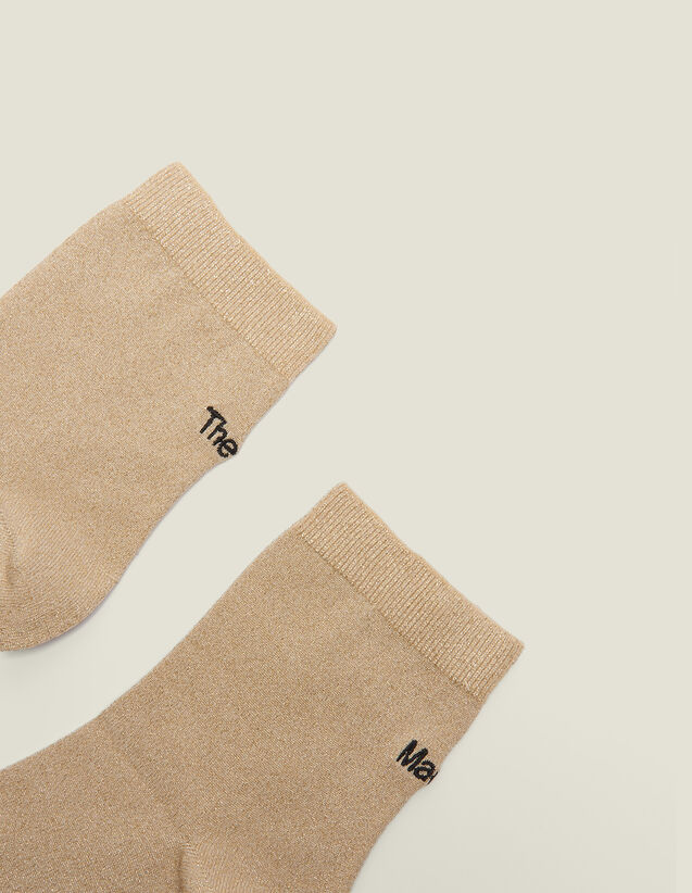 Lurex Embroidered Socks : null color Gold
