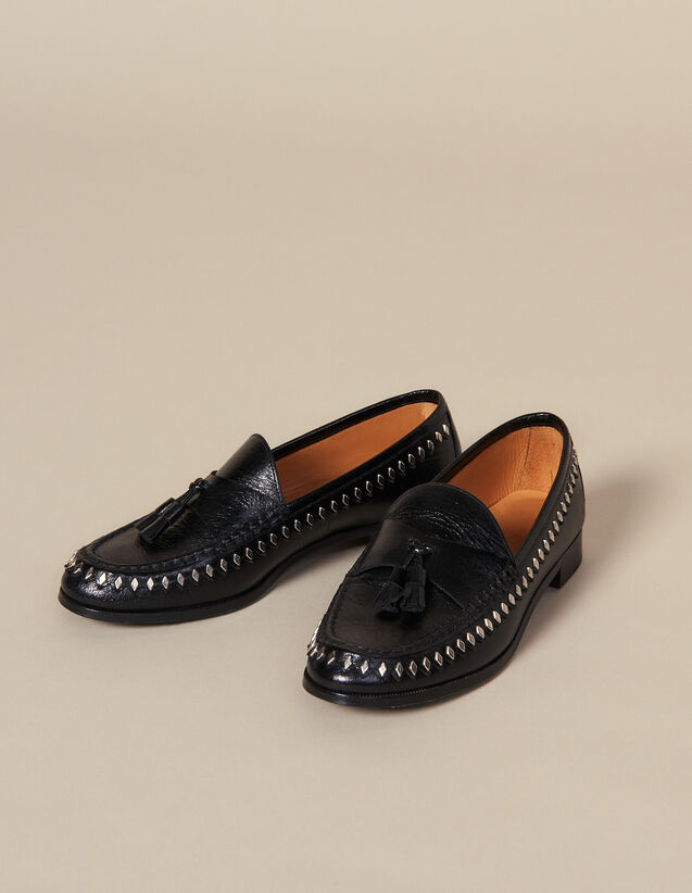 Crinkled leather loafer with tassels : All Shoes color Black