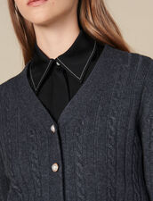 Cropped Cardigan With Pearl Buttons : Sweaters & Cardigans color Grey