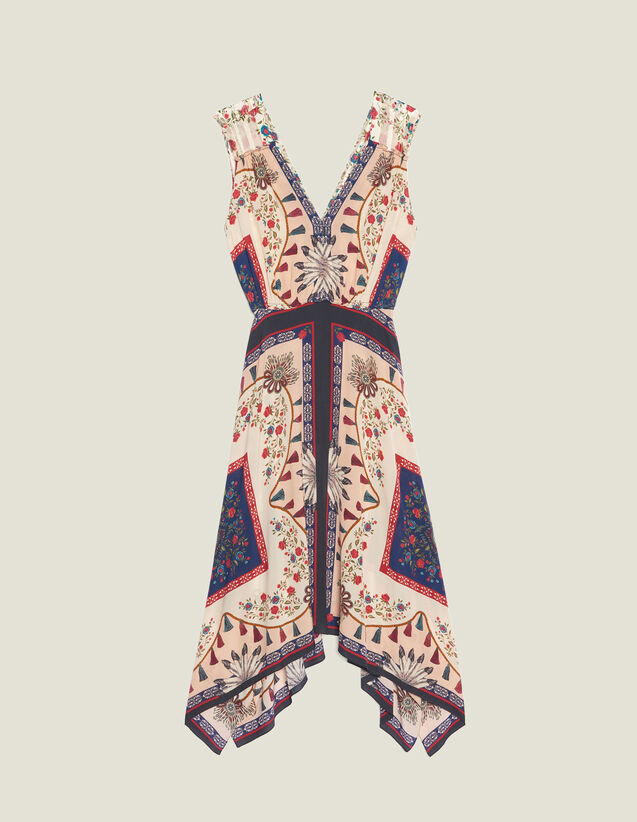 Flowing Printed Sleeveless Dress : null color Multi-Color