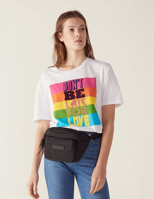 Cotton T-Shirt With Lettering : LastChance-FR-FSelection color white