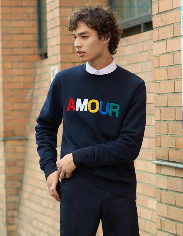Slogan Sweatshirt In Unbrushed Fleece : All Winter collection color white