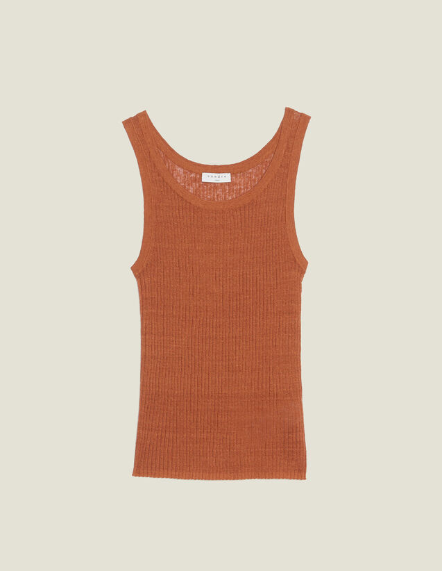 Fine Ribbed Knit Top : Tops & Shirts color Terracotta