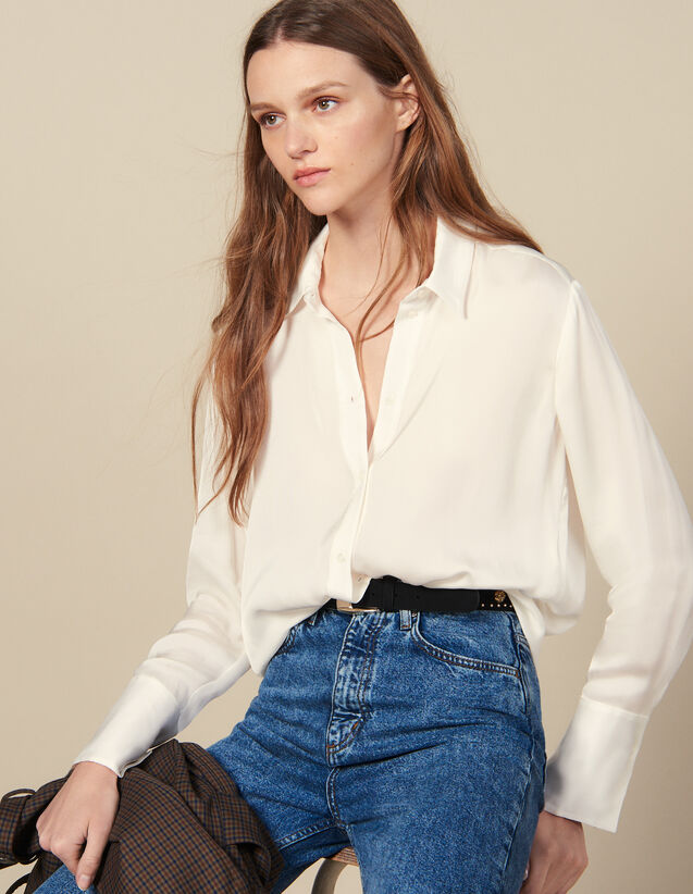Flowing Shirt With High Cuffs : Tops & Shirts color Ecru