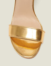 Heeled Sandals In Metallic Leather : null color Gold