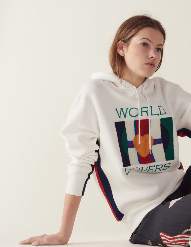 Sweatshirt With Embroidery And Flocking : Sweatshirts color white