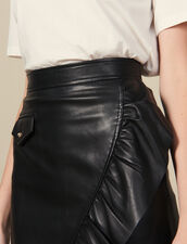Short Leather Skirt With Ruffle : LastChance-ES-F40 color Black