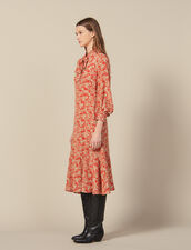 Long Printed Silk Dress : New In color Red