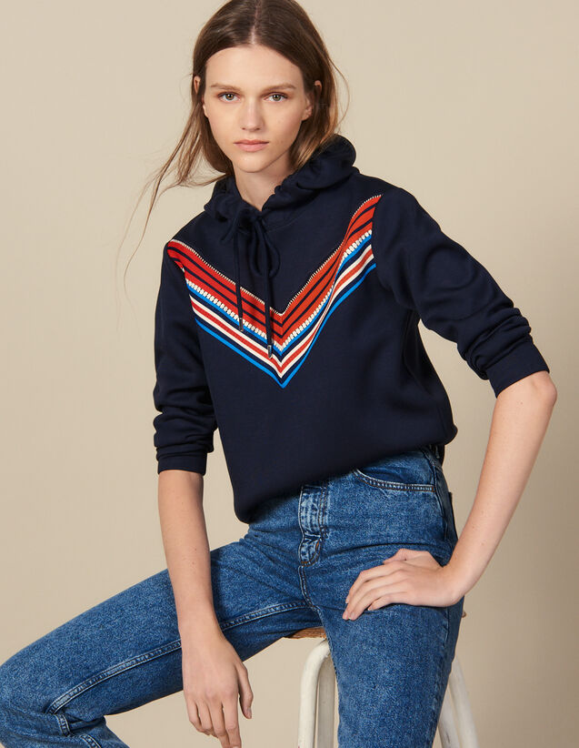 Sweatshirt With Striped Trim : Sweatshirts color Navy Blue