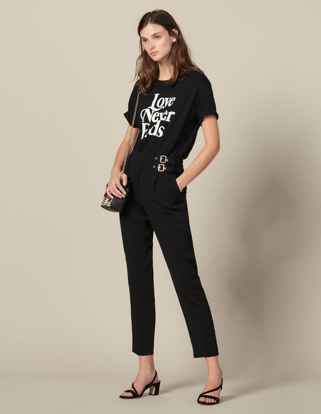High-Waisted Trousers With Buckles : Pants color Black