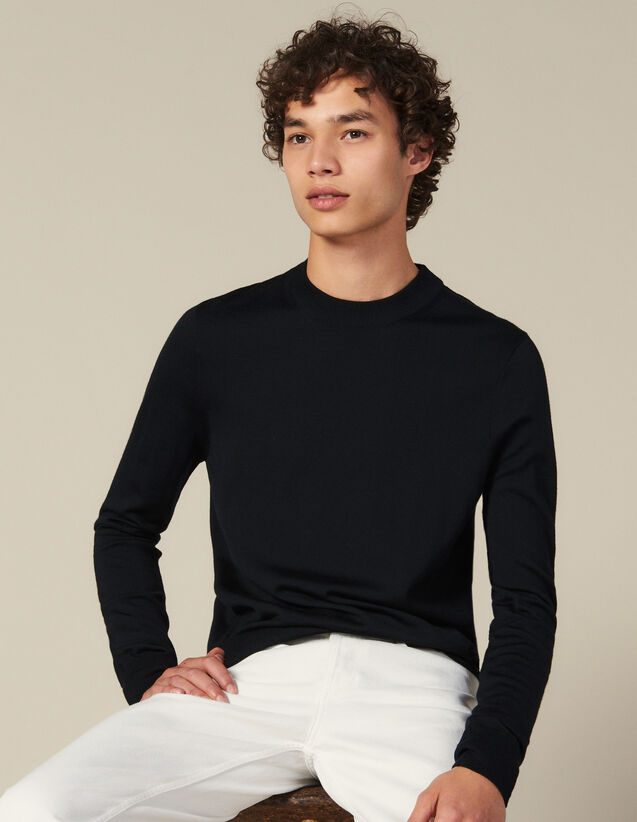 Round Neck Wool Sweater : Sweaters & Cardigans color Navy Blue