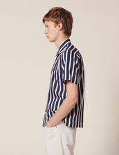 Shirt With Contrasting Stripes : Shirts color Navy Blue