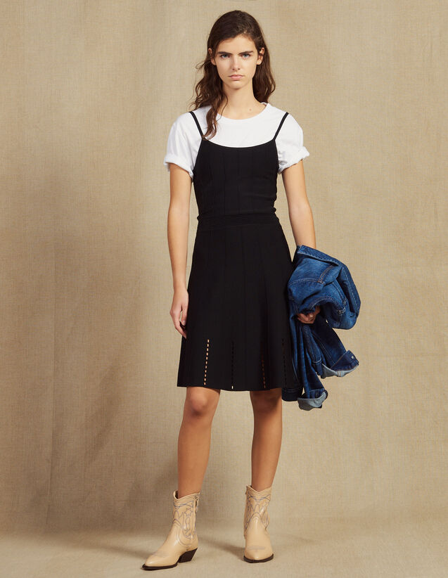 Short Knit Dress With Straps : Dresses color Black