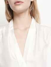 Silk shirt with V-neck : Tops & Shirts color Ecru