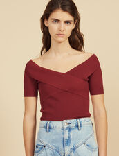 Knit Top With Crossover Neckline : Short sleeve shirt color white
