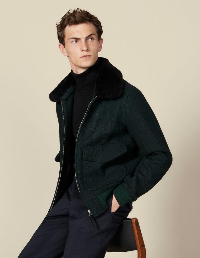 Green Herringbone Aviator Jacket : Blazers & Jackets color Dark green