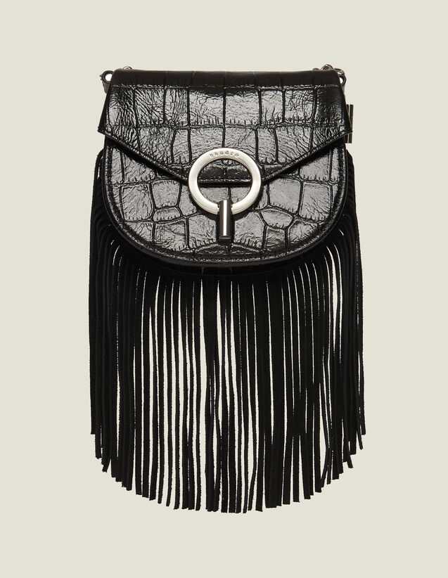 Fringed Pépita Bag, Small Model : All Bags color Black