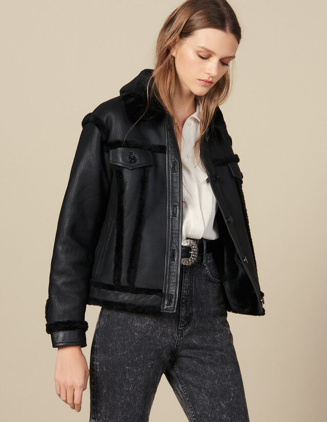 Sheepskin Jacket : LastChance-ES-F50 color Black