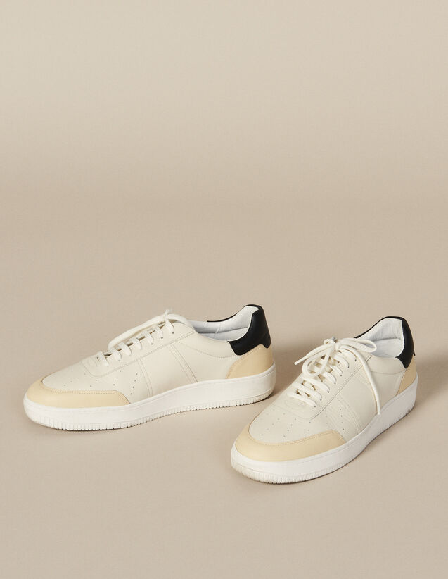 Leather Trainers : Winter Collection color White And Black