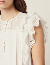 Jacquard Top With Ruffles : null color Ecru