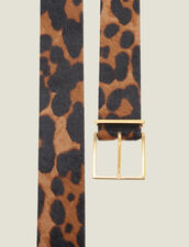 Printed Pony Effect Leather Belt : Belts color Leopard