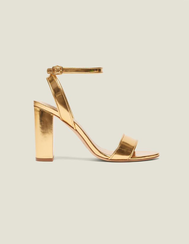 Heeled Sandals In Metallic Leather : Sandals color Gold