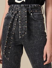 Snow Jeans With Studded Belt : New In color Black