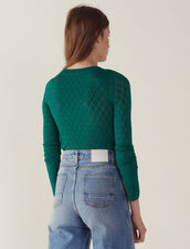 Long-Sleeved Decorative Sweater : null color Green