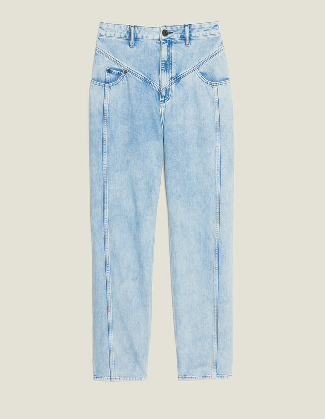 Washed Denim With Seaming : null color Blue Vintage - Denim