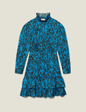 Printed dress with ruffles & high collar : LastChance-ES-F30 color Blue