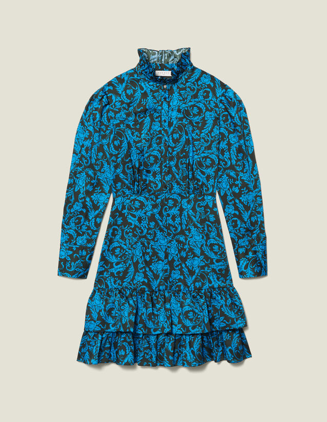 Printed Dress With Ruffles & High Collar by Sandro Paris