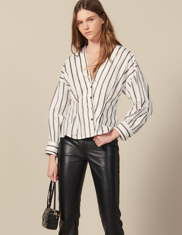 Striped Poplin Fitted Shirt : Tops & Shirts color white