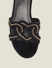 Heart Goatskin Suede Sandals : All Shoes color Black