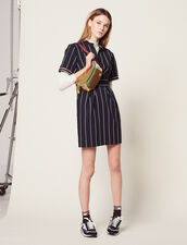 Short Dress With Stripes : null color Navy Blue