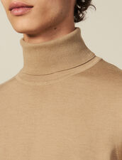 Roll neck wool sweater : Sweaters & Cardigans color Beige