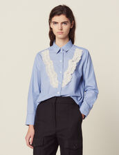 Shirt With Fine Stripes And Lace : null color Sky Blue