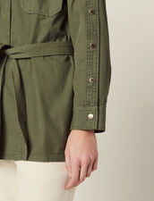 Belted Jacket With Press Studs : Blazers & Jackets color Olive Green