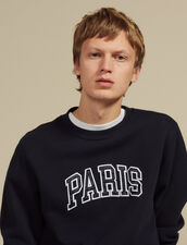 Sweatshirt With Patch Lettering : Sweatshirts color Navy Blue