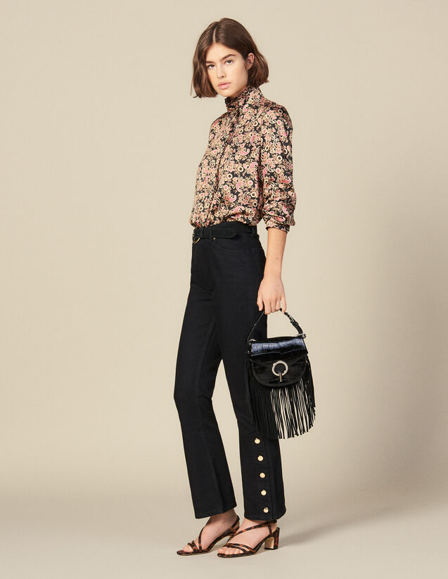 Flared Jeans With Slits : Jeans color Black