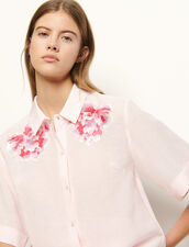 Linen shirt with embroidery : Tops & Shirts color Rose pastel