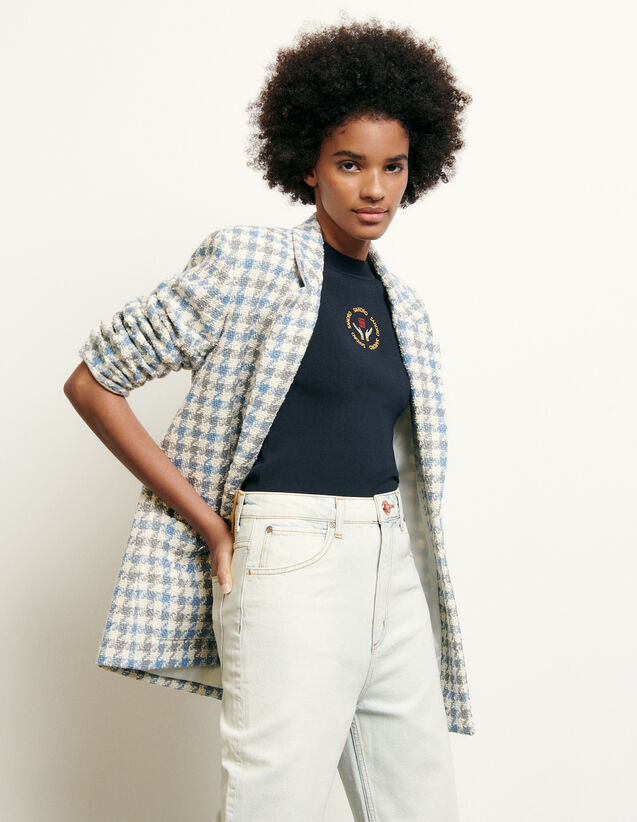 Tailored jacket in houndstooth tweed : Summer Collection color Blue sky