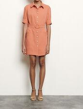 Shirt dress with decorative buttons : Dresses color Abricot