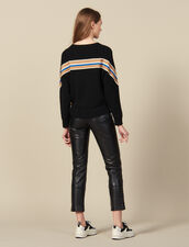 Sweater with wide striped braid edging : LastChance-ES-F40 color Black